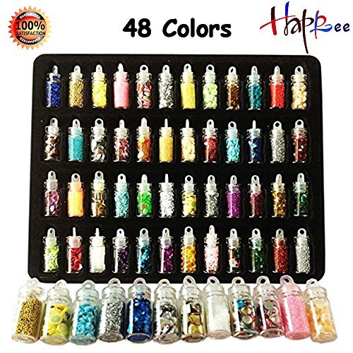 3D Nail Art Decoration Set Mini Bottles Nail Glitter Powder, Colored Nail Art Supplies Sequin Rhinestones Decoration, 48 Sheets Nail Art Stickers for Scrapbooking, Face, Nail, Eye, DIY Craft, (Diy Glitter Bottles)