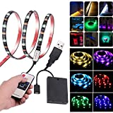 Leimaq USB Battery Powered RGB LED Light Strip with RF Wireless Remote Control, Waterproof Flexible LED Rope Lights SMD 5050 LED Ribbon TV Backlight Background Bias Lighting Accent Light (6.56ft)