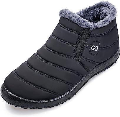 Women Winter Casual Ankle Slip On Solid Flat Faux Fox Fur Snow Boots EN24H 05