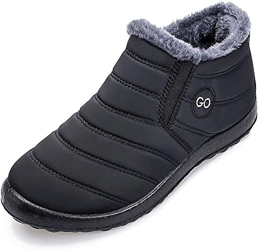 KELYR Winter Boots Fur Lined Warm Snow Ankle Boots Waterproof Outdoor Slip on Sneakers Anti-Slip Comfortable Walking Shoes