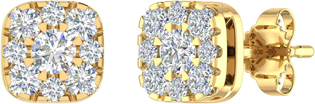 0.29 Carat to 1/2 Carat Diamond Cluster Earrings in 10K Solid Gold