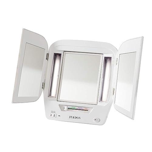 Jerdon JGL12W Trifold LED Lighted 5x-1x Mirror, 3.6 Lb