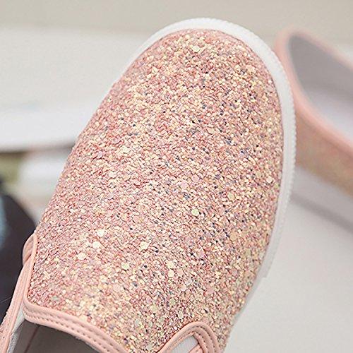 Odema Kvinna Glitter Glittrande Paljett Plattform Sneakers Halka På Skor Loafers Vita