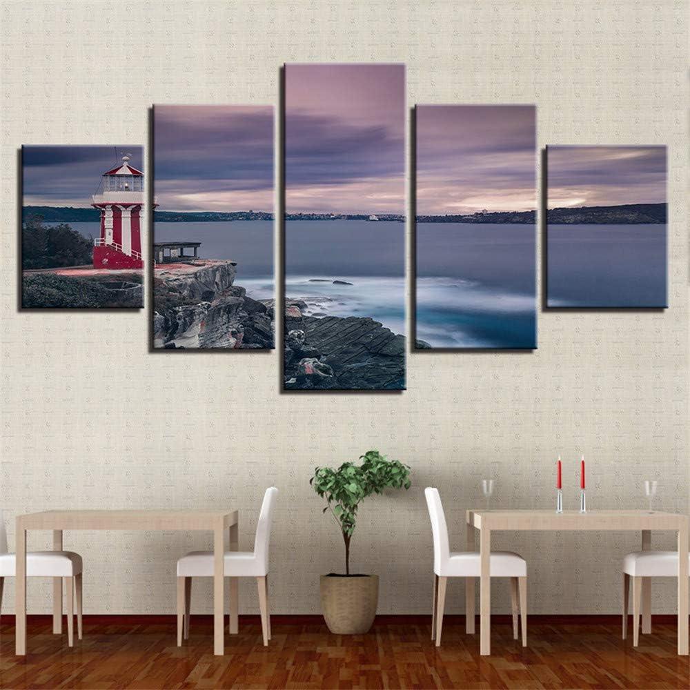 Combinación de Pintura Decorativa hogar Dormitorio Sala Lienzo Pintura Pintura Decorativa,Vista panorámica del mar Puente Torre 5 Pintura núcleo 30x40cmx2 30x60cmx2 30x80cmx1: Amazon.es: Hogar