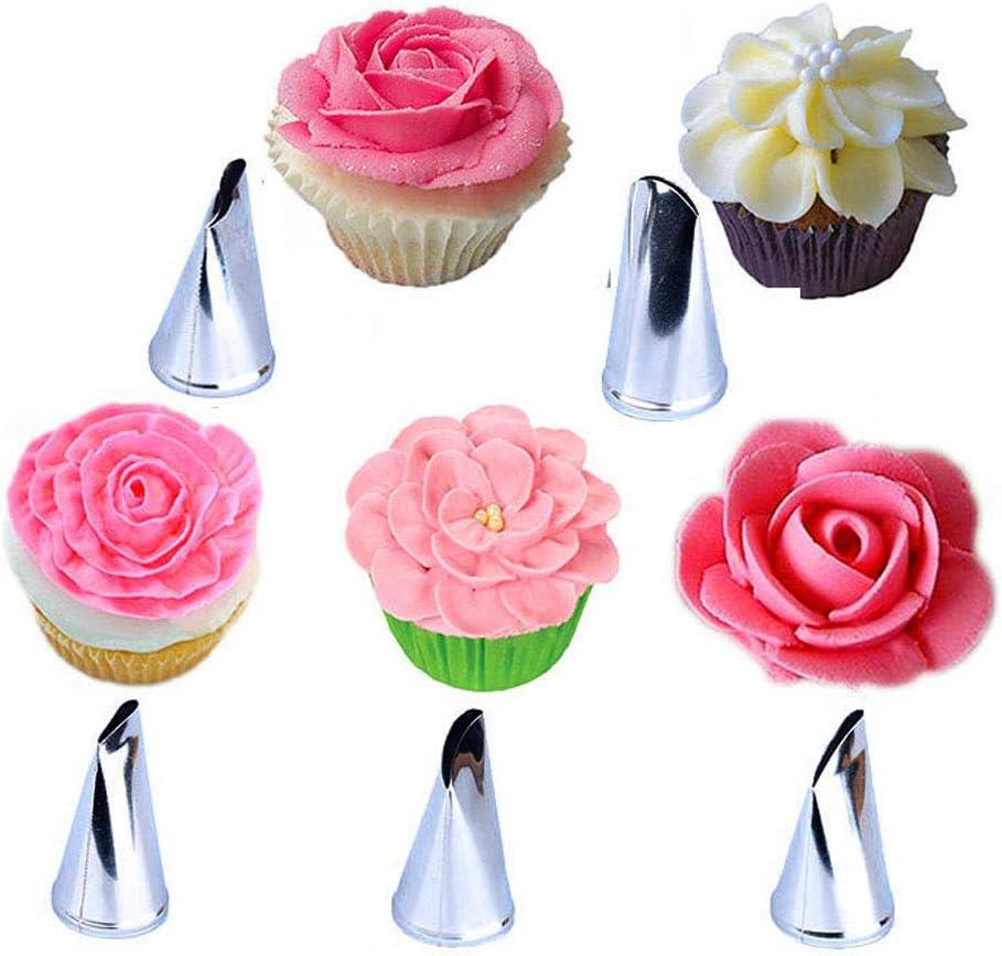 BLUGUL 10 Piezas Rosa Boquillas de Tuberías, Flores Pétalo Boquillas, Acero Inoxidable, para Crema de la Torta, Decoracion de pasteles, Galletas, Cupcakes
