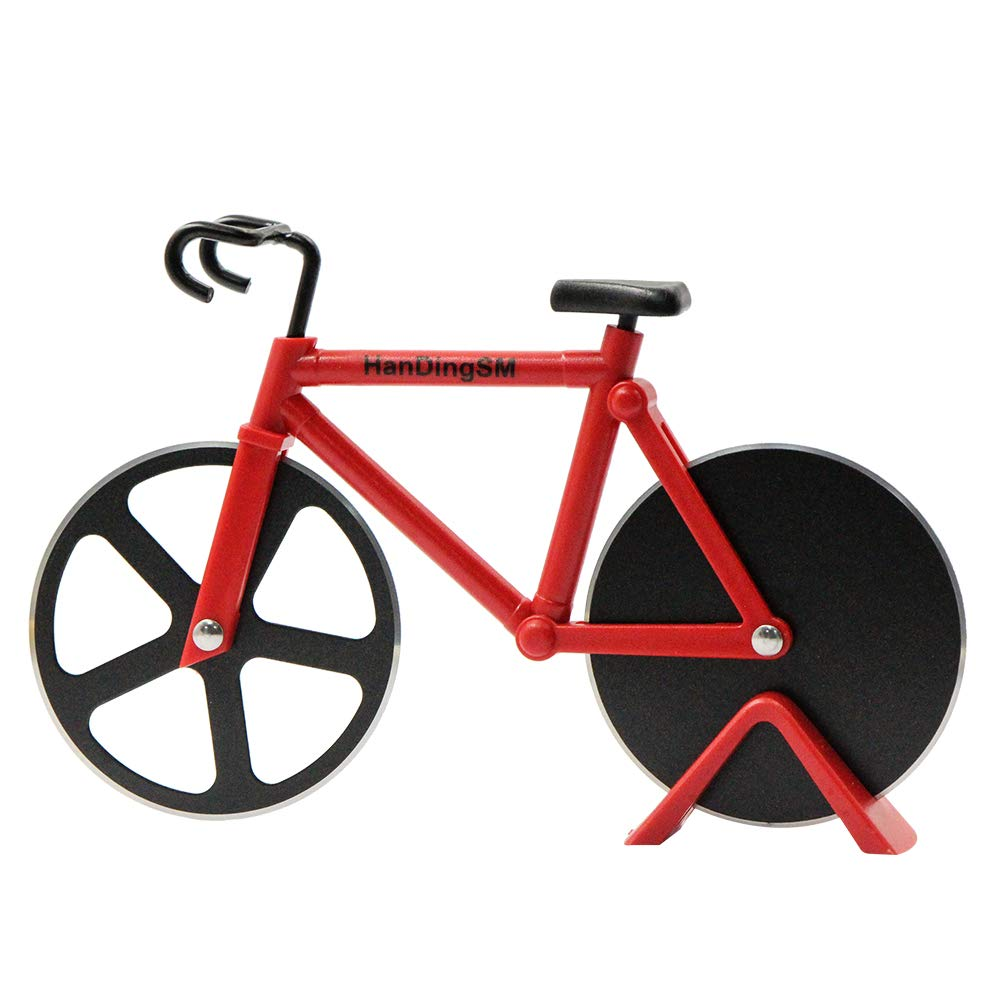 Bicycle Pizza Cutter Wheel,Bike Pizza Slicer Dual Stainless Steel Non-stick Cutting Wheels With a Stand best for Holiday Vacation Housewarming Cool Kitchen Gadget Cool Men's Gift