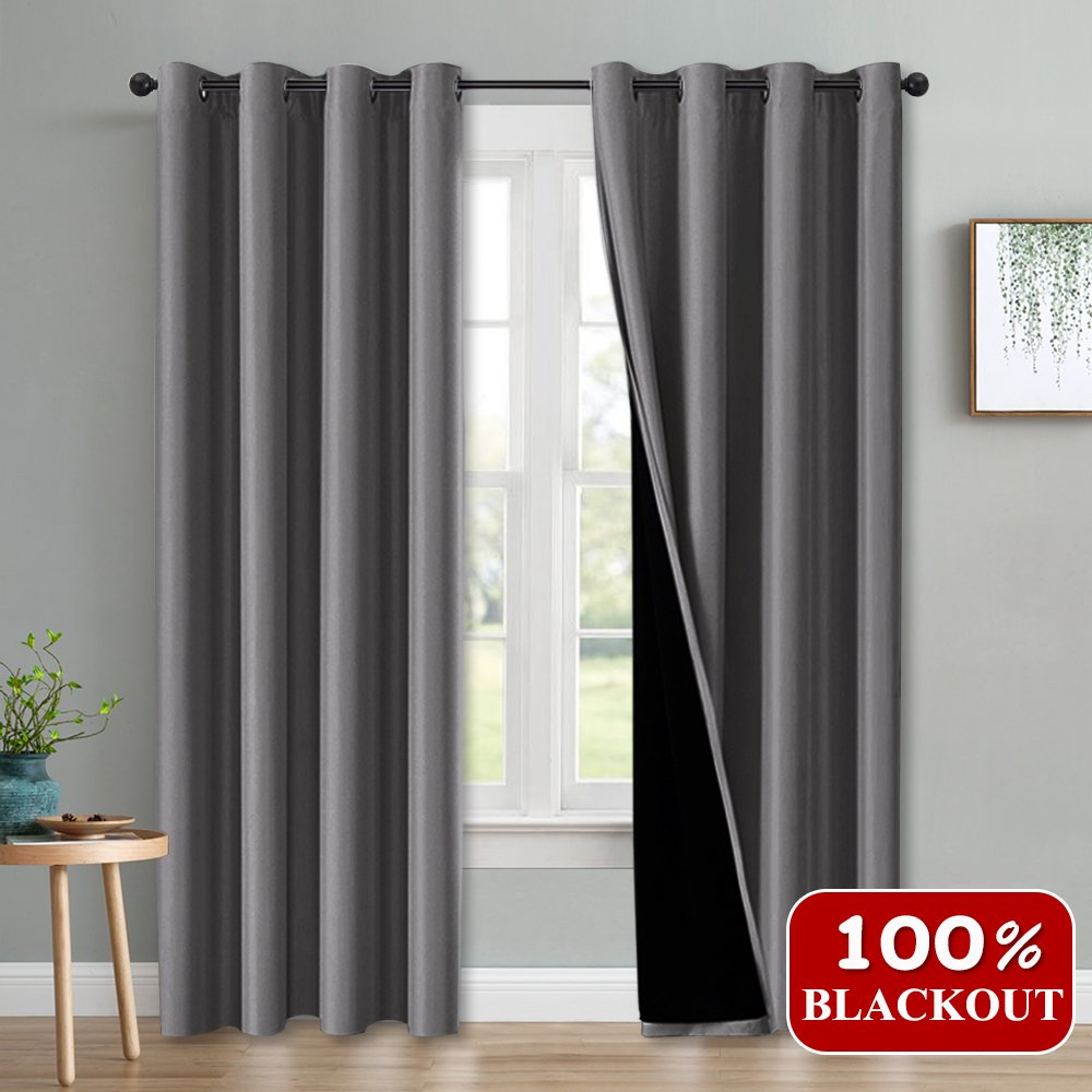 PONY DANCE 100% Blackout Drapes - Gray Panels Home Decor Noise Reducing Total Light Block 2 Layer Curtain Thermal Insulated, 52'' Wide x by 84'' Long for Living Room, Grey, Double Pieces