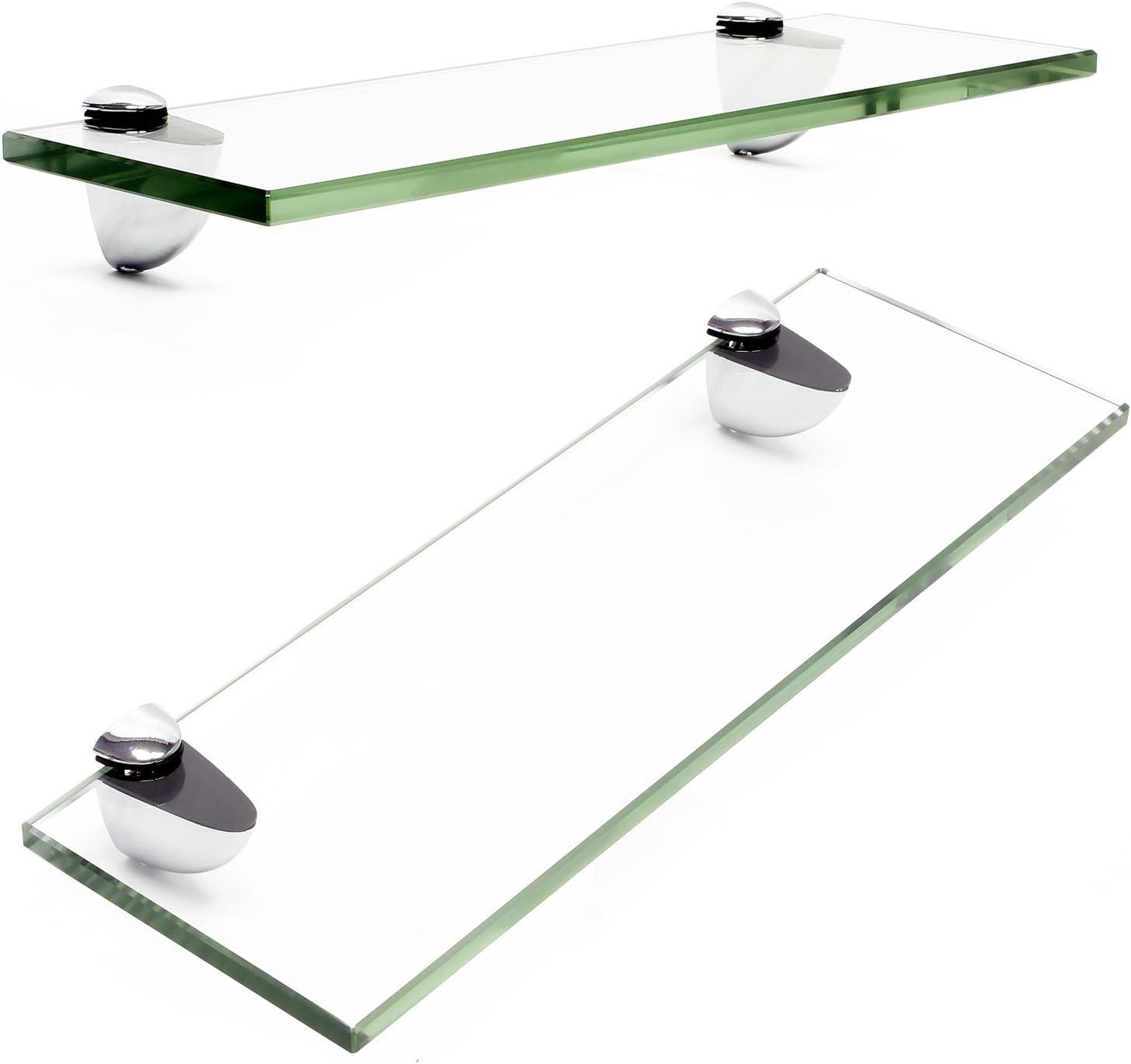 Wiltec Glass Shelf Floating Wall Mounted Bathroom Kitchen Display 200x100x6mm Clear Amazon Co Uk Kitchen Home