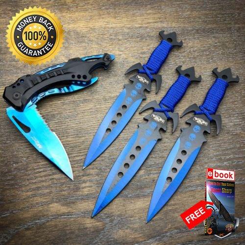 4PC 7.5 Ninja Tactical Combat Kunai Blade Set Assisted ...