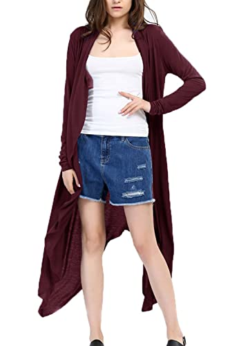 La Mujer Casual De Manga Larga Abierta Frente Alta Baja Larga Gabardina Outwear