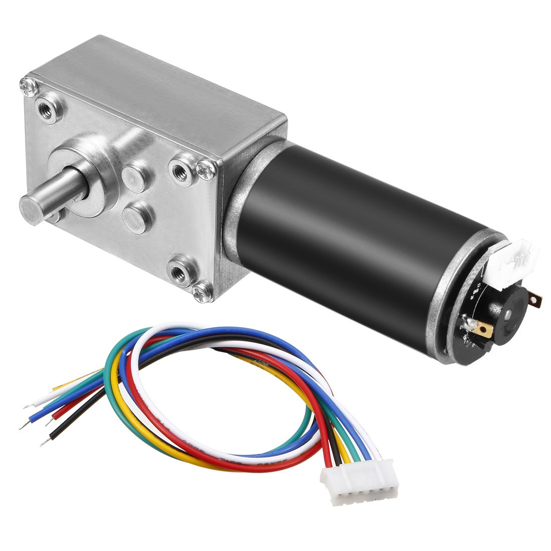 uxcell DC 12V 55RPM 8.5Kg.cm Self-Locking Worm Gear Motor with Encoder and Cable, High Torque Speed Reduction Motor