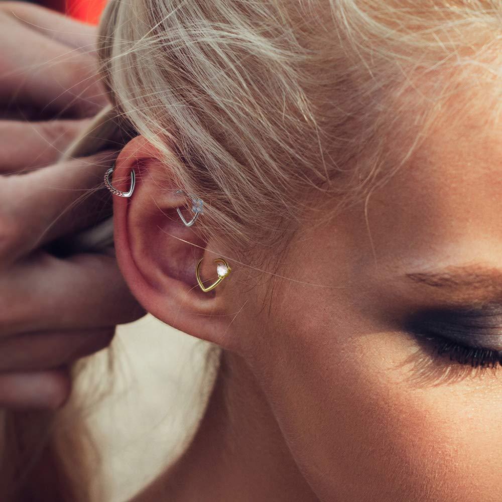 Dynamique Four CZ Set Heart 16G Ear Cartilage//Daith Hoop Ring Sold Per Piece