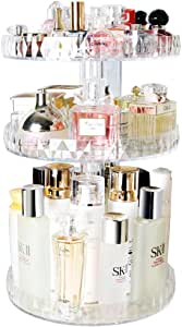 Ourlove -- Makeup Organizer, Easy to take up Cosmetic, 360° Rotating, Compact Size with Large Capacity, Desktop Skin Care Product Dresser Finishing, White