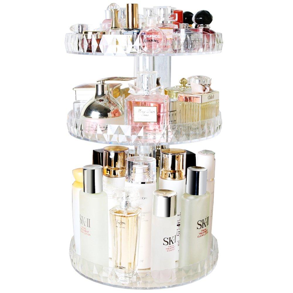 Botide Diamond cosmetic storage box transparent Acrylic swivel shelf desktop Skin care product dresser finishing