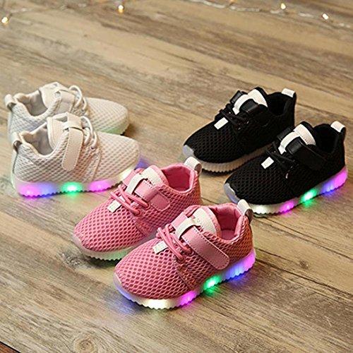 Huhu833 LED Baby Jungen Mädchen Schuhe Kinder Leuchten Leuchtende Kind Trainer Turnschuhe Rosa