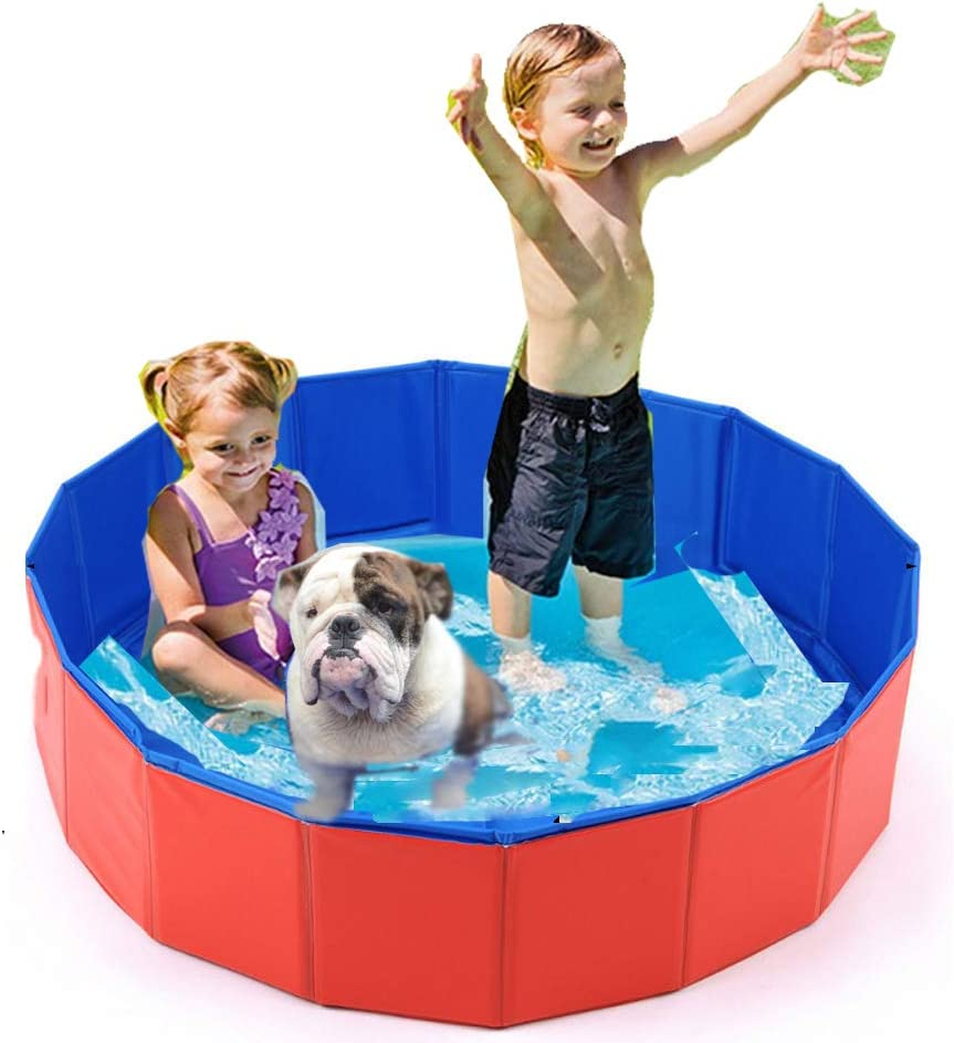 LINGGE Piscina Banera Hinchable Piscinas Bebe Infantil Plegable Mascotas Perros Piscina Cachorro Tina de baño Rojo Niños Niños Billar Piscina Piscina Estanques de Agua