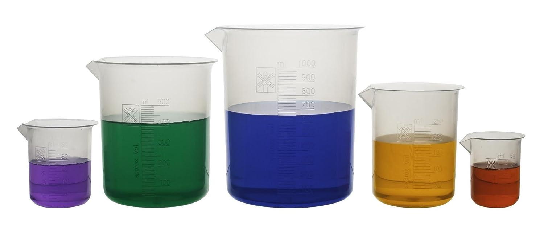Hbarsci Hbarbeakerset laboratoire Gobelet en plastique 250/ml Lot de 5 100/ml Passe /à lautoclave 500/ml et 1000/ml 50/ml en polypropyl/ène Premium avec graduations en relief