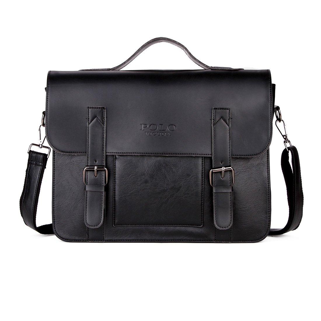 VICUNA POLO Messenger Bag For Men Briefcase Bag Leather Laptop Bag Shoulder Bag (black)