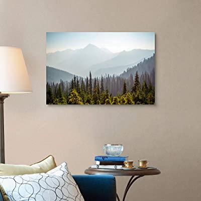 Mountain Home Olympic Mountains viewed from Hurricane Canvas Wall Art Print