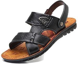 be64dea8b04d RESPEEDIME Men s Casual Leather Sandals Indoor and Outdoor Non-Slip ...