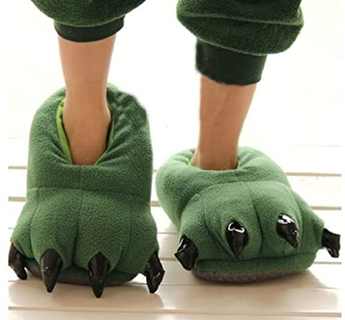 Amazon.com: Thicken Green Dinosaur Claws Novelty Slippers for Men Women Warm Winter Slippers Ideal Christmas Gifts-large Size: Toys & Games