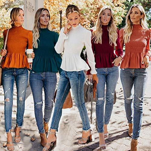 Slim A Camicia Camicetta Rosso Sexy Ufficio Blusa Manica Primavera Shirt Alto Chiffon Scollo Estate Elegante Orandesigne Top Donna Casual Lunga j5L34RA