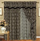 Leopard Animal Curtain Set w/ Valance/Sheer/Tassels