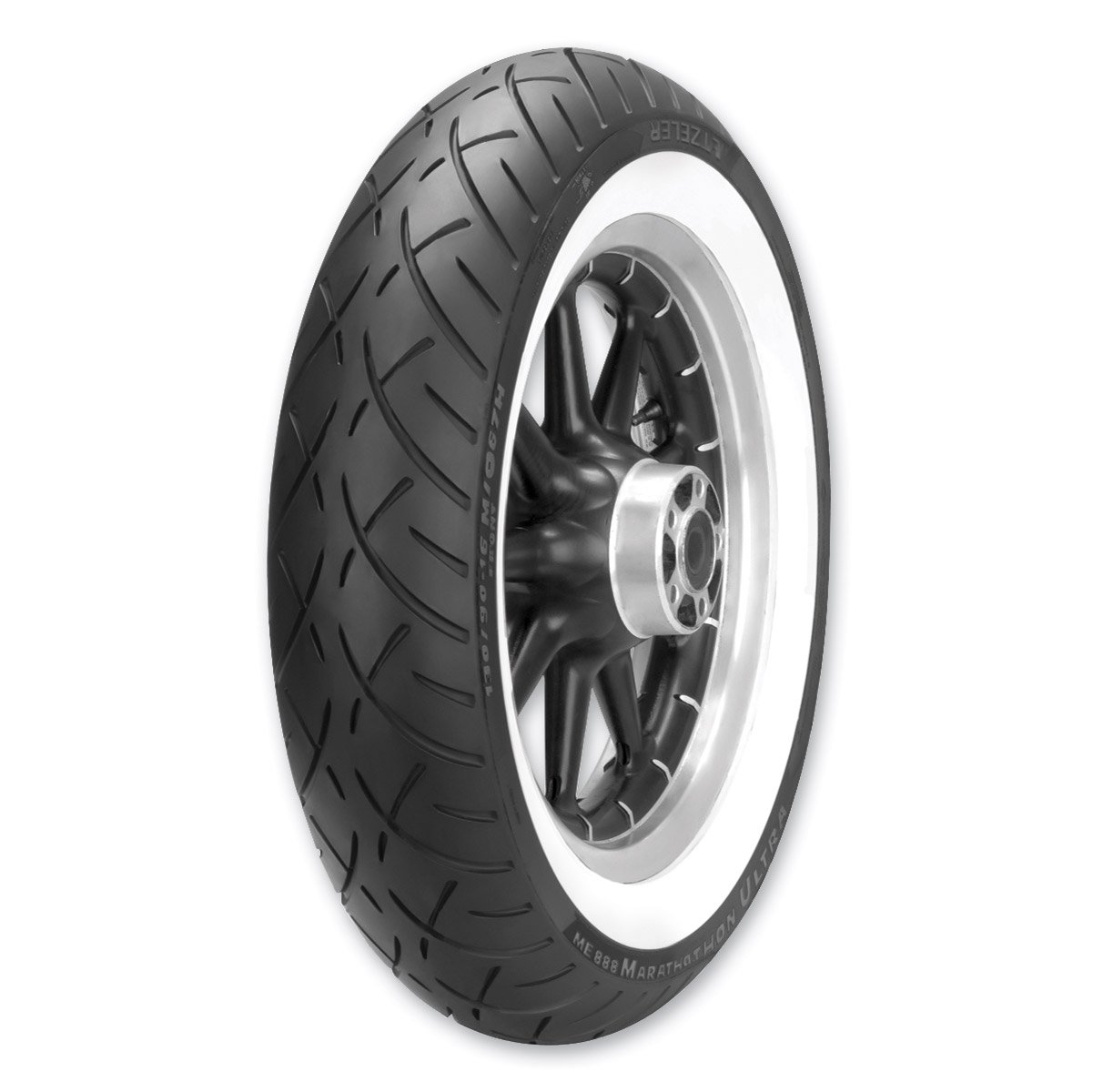 Metzeler ME888 Marathon Ultra Tire - Front - MT90B16 - Wide Whitewall , Position: Front, Rim Size: 16, Tire Application: Cruiser, Tire Size: MT90-16, Tire Type: Street, Load Rating: 72, Speed Rating: H, Tire Construction: Bias 2407500 by Metzeler (Image #1)