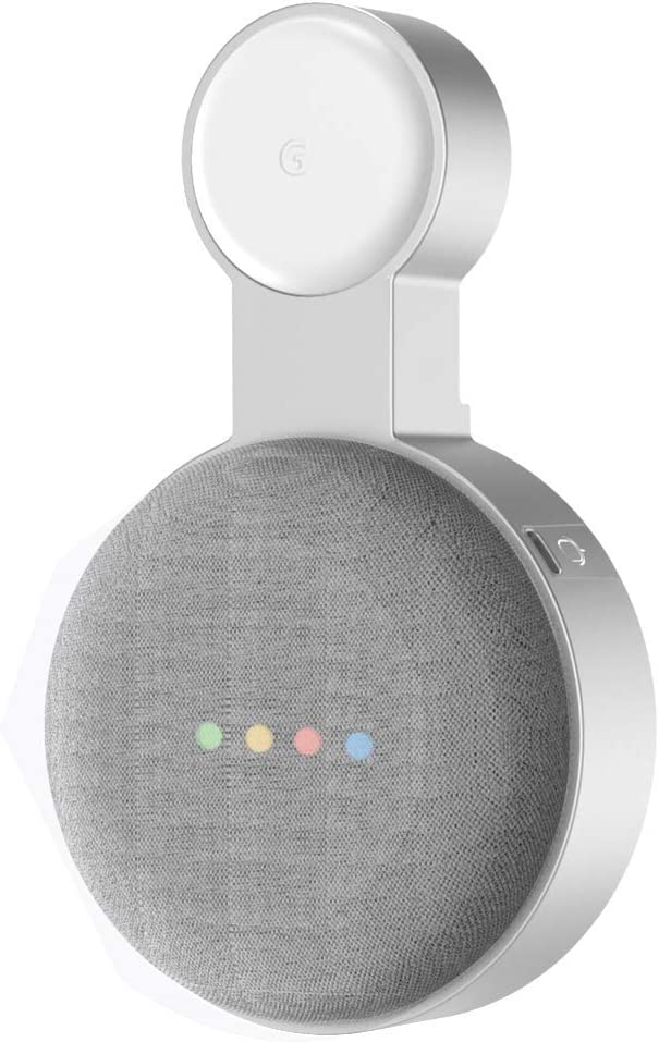 Baaletc Soporte de Pared Outlet para Google Home Mini/Nest Mini (2nd Gen) Asistente de Altavoz, Altavoz Inteligente, Manejo de Cable Incorporado