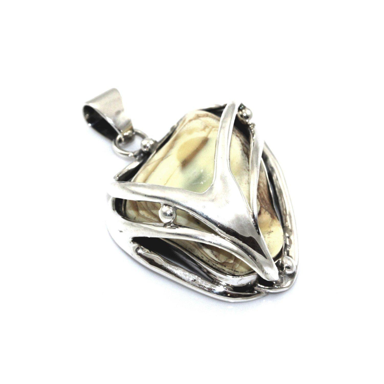 Artistic Kettenanhänger handgefertigt Heiliger Sterling Silber 925 mit baltischer natur Bernstein