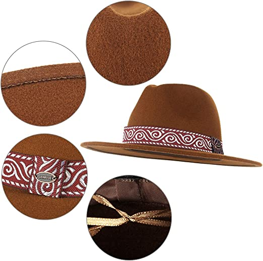 Jelord Sombrero de Fieltro Sombrero Fedora Mujer Sombrero de Lana 100/% ala Ancha Sombrero Panama Hombre Primavera Oto/ño Inviereno