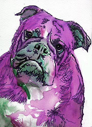 English Bulldog Art Print, Bright Pink Bulldog Mom Home Decor,