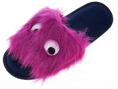 4d57707a65b Festooning Women s Fluffy Faux Fur Clog Open Toe Slip-on Memory Foam Slippers  Purple us5