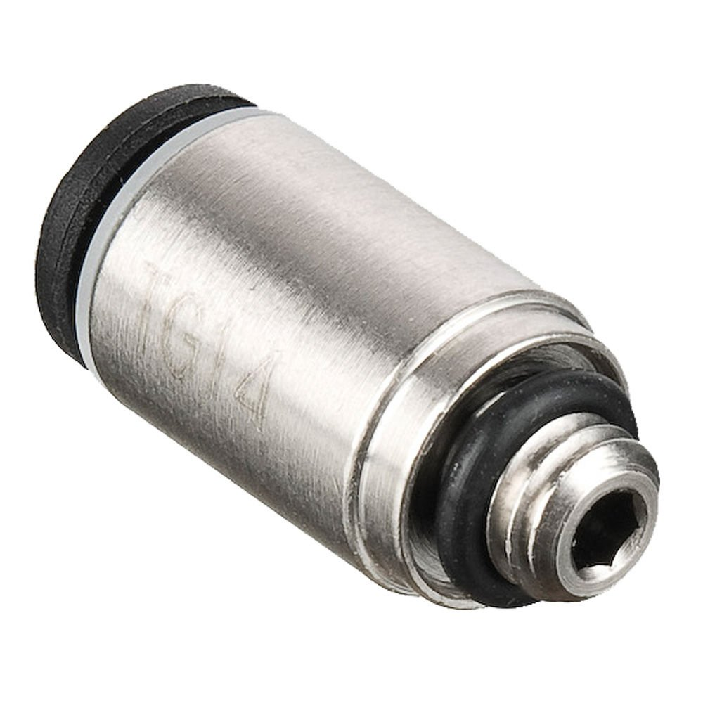 Parker 68LFR-4-M5-pk20 Push-to-Connect Nickel Plated Instant Fitting, Tube to Pipe, Nickel Plated Brass, Push-to-Connect Round Body Connector, 1/4'' and M5x0.8 mm (Pack of 20)