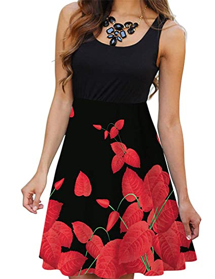 65da5cf156bd TeapO Women Summer 3D Floral Print Tank Short Mini Dress Sleeveless Round  Neck Dress at Amazon Women's Clothing store: