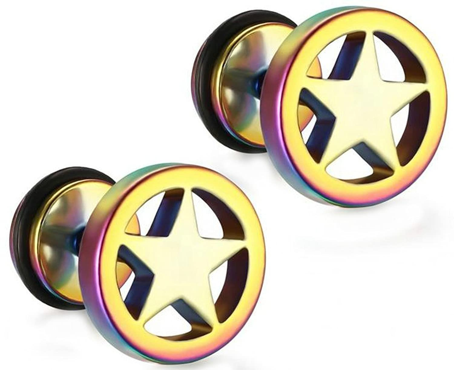 Stainless Steel Earrings, Men Stud Earrings Round Shape The Five-Pointed Star Punk Style Colorful Epinki