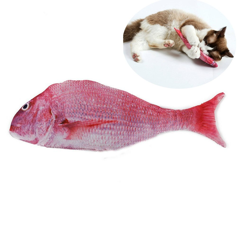 well-wreapped Catnip Cat Toy, Simulation Plush Fish Shape Toy Doll Interactive Chewing Toys for Cat/Kitty/Kitten