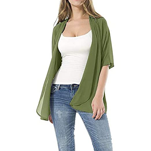 3c4dd8673 Women's Loose Tops Casual 3/4 Sleeve Short Sleeve Kimono Style Open Front  Breathable Cardigans