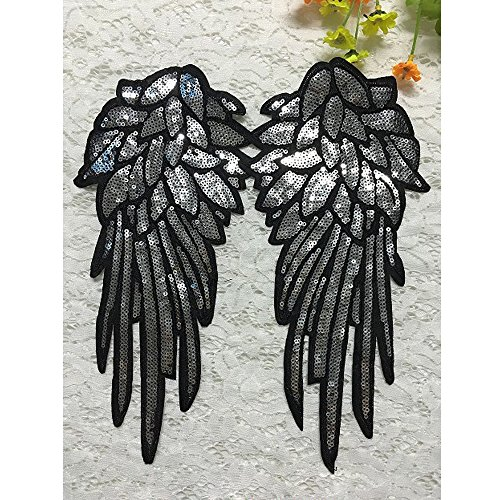 1 Pair Large Silver Sequins DIY Applique Embroidered Sew Patch for Clothes