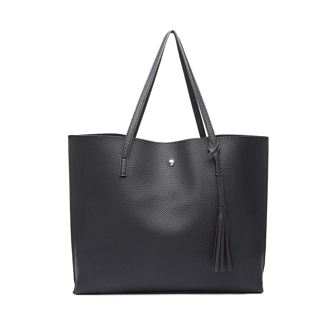 Miss Lulu Handbag for Women Laptop for 13inch Tote Shoulder Bag Tassel Classic Soft Pebbled PU Big Capacity Travel