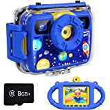 Ourlife Kids Camera, Selfie Waterproof Action Child Gift Cameras,1080P 8MP 2.4 Inch Large Screen with 8GB TF Card for Childre