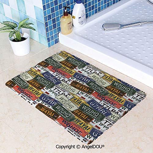 - SCOXIXI Absorbent Super Cozy Rectangle Kitchen Bathroom Carpet Retro American Auto License Plates Utah Washington Rhode Island North Carolina Print Washable Porch Floor Mat Carpet W19.6xL31.5(inch)