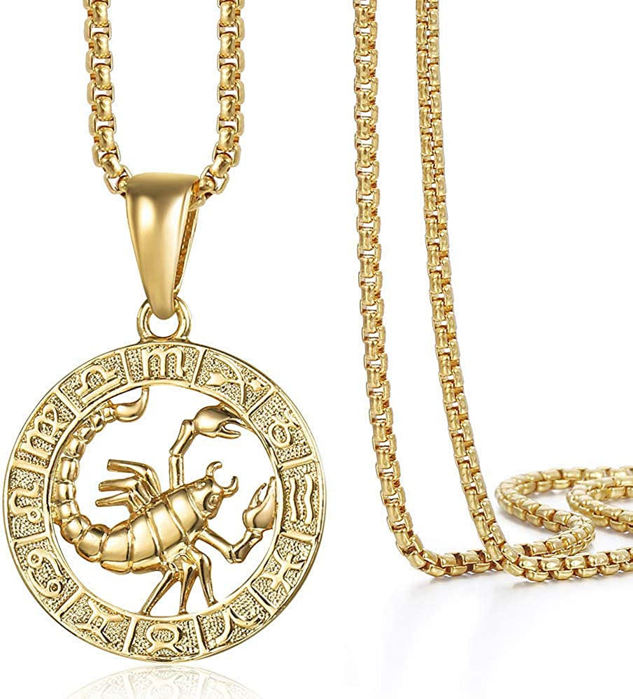 Hermah Gold Plated Zodiac Sign Pendant Necklace for Women Men Leo AriesConstellation Horoscope Pendant Stainless Steel Box Link Chain 22inch