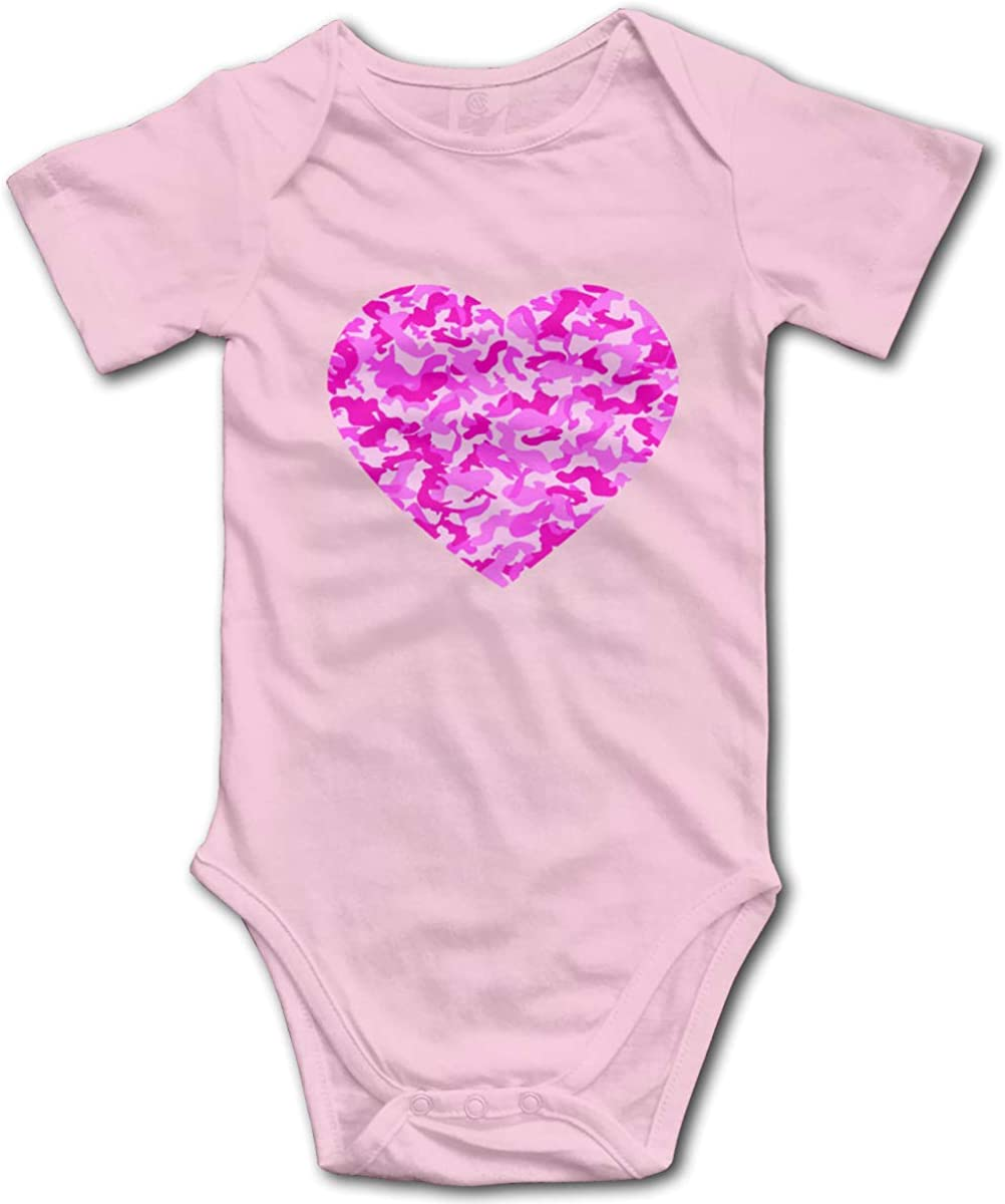 Unisex Baby Bodysuit Cotton Short Sleeve Outfits Pink Camo Love