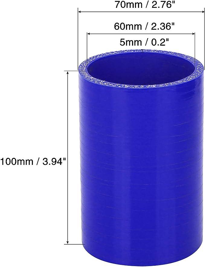 X AUTOHAUX 60mm ID Blu Dritto Tubo Silicone Accoppiatore Intercooler Tubo