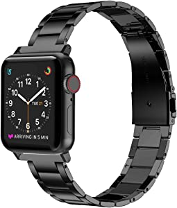 Wearlizer Stainless Steel Compatible with Apple Watch Band 38mm 42mm Women Men,Ultra-Thin Lightweight Replacement Band Strap Compatible for iWatch Bands Series 6 5 4 3 2 1 (Black, 42mm 44mm)