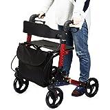アシストウオーカー 室内室外兼用歩行車 車椅子 ショッピングカー 歩行補助用品 抑速ブレーキ機能付 アルミ合金製 折り畳み可 日本語説明書付き