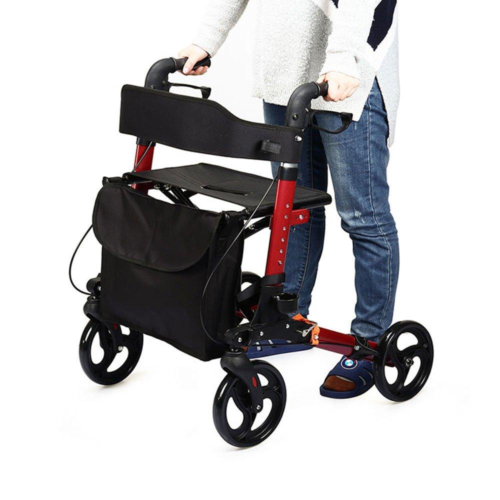 アシストウオーカー 室内室外兼用歩行車 車椅子 ショッピングカー 歩行補助用品 抑速ブレーキ機能付 アルミ合金製 折り畳み可 日本語説明書付き B076SKBLX7
