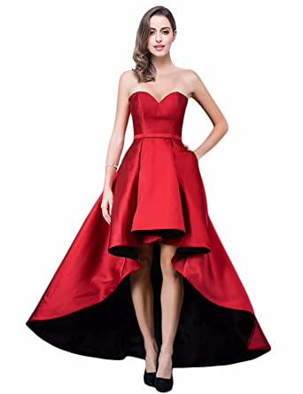 Verabeauty Women Plus Size High Low Long Bridesmaid Dress Strapless
