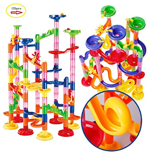 Marble Run Maze Ball Game Marble Maze STEM Educational Toys for Kids Set Marble Run Race Coaster Set, Marble Run Railway Toys [ 125 Pieces ] Construction Toys Building Blocks Set Marble Run Race Co (Games For Plastic Marbles)